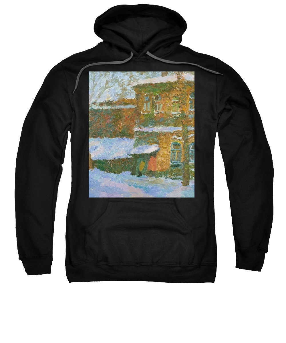 Snow Sweatshirt featuring the painting Winter by Robert Nizamov
