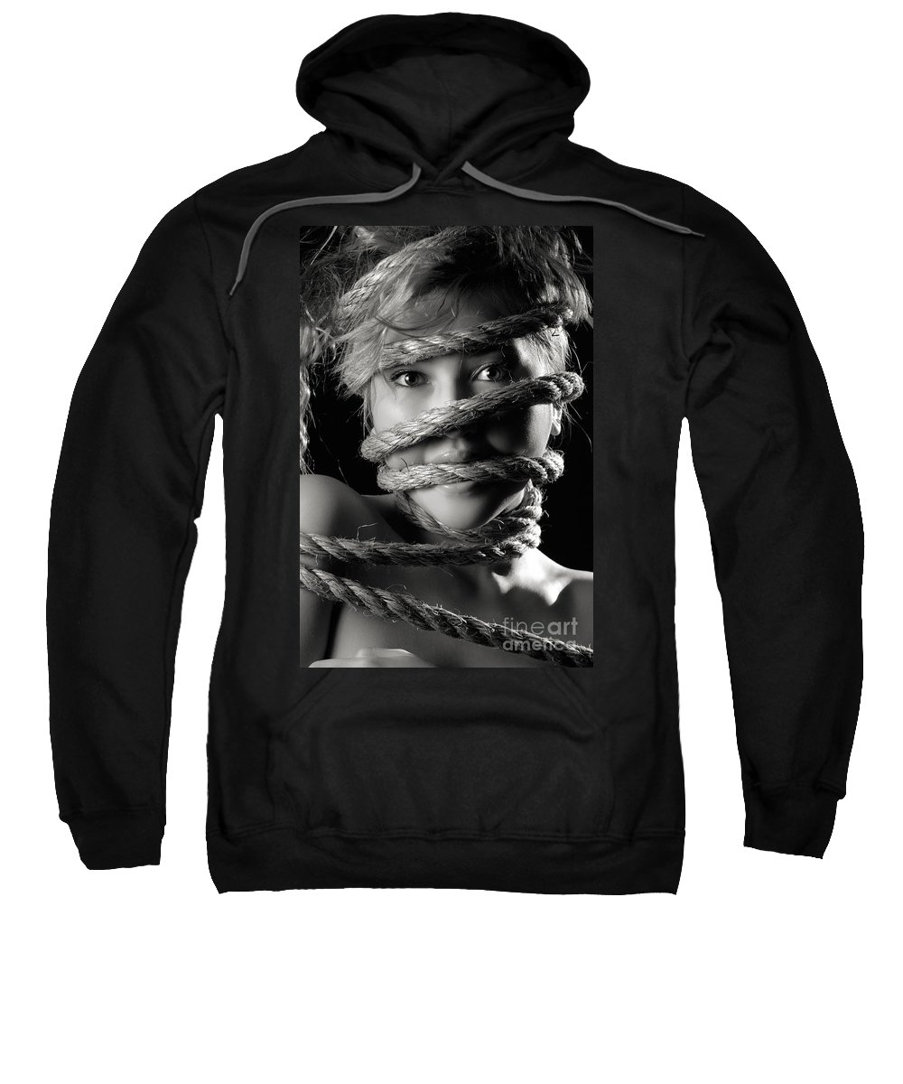 Angry Sweatshirt featuring the photograph Young Expressive Woman Tied In Ropes by Oleksiy Maksymenko