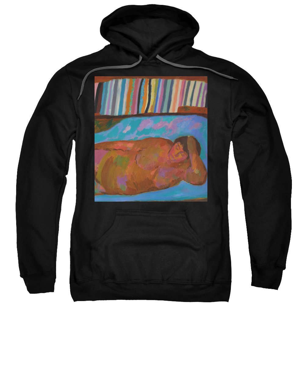 Beauty Sweatshirt featuring the painting Model by Robert Nizamov