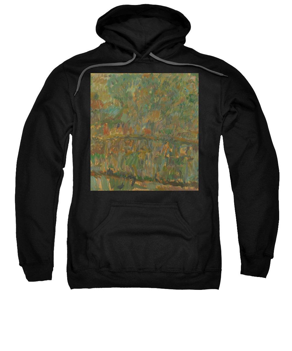 River Sweatshirt featuring the painting Bridge by Robert Nizamov