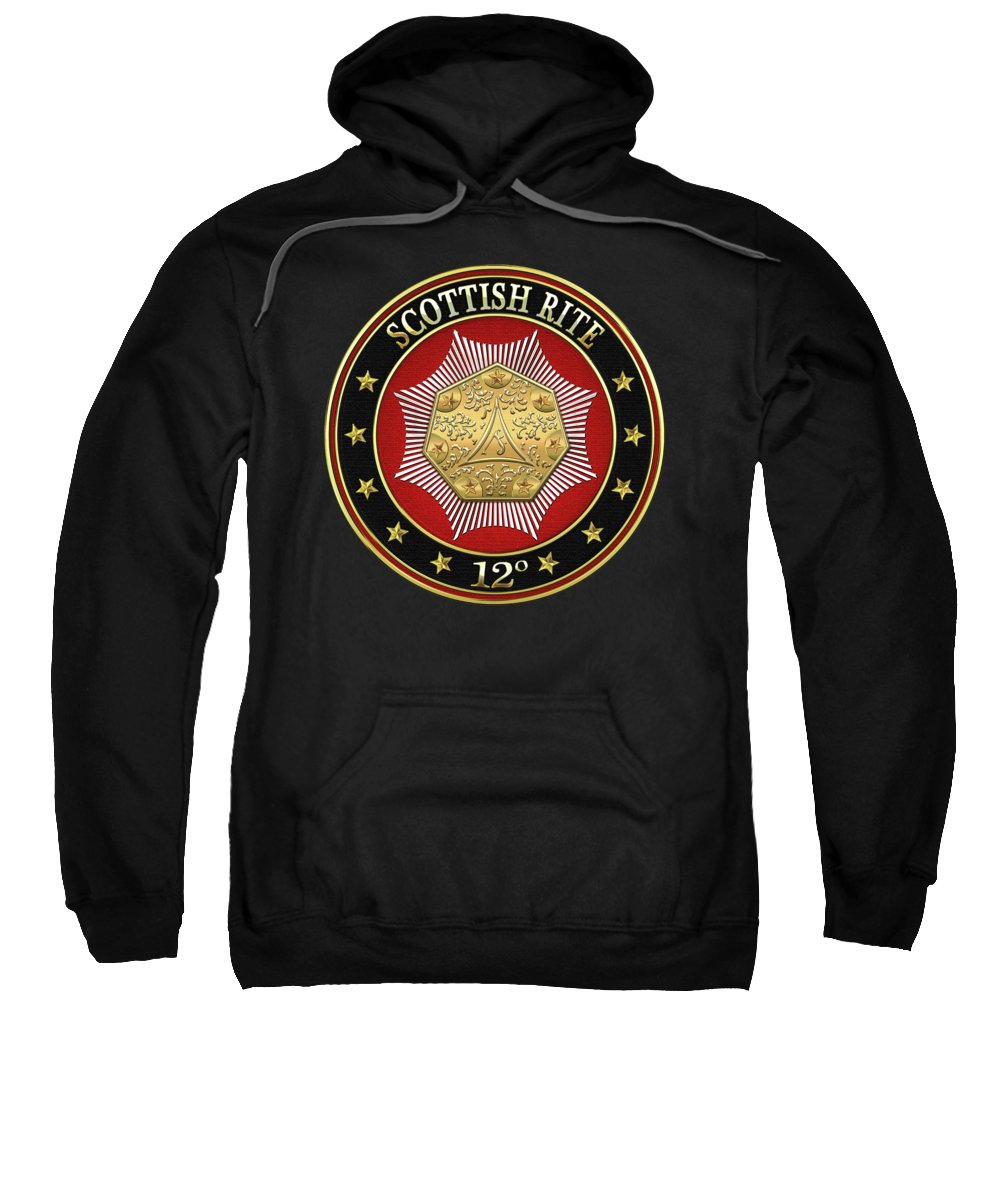 'scottish Rite' Collection By Serge Averbukh Sweatshirt featuring the digital art 12th Degree - Master Architect Jewel On Black Leather by Serge Averbukh