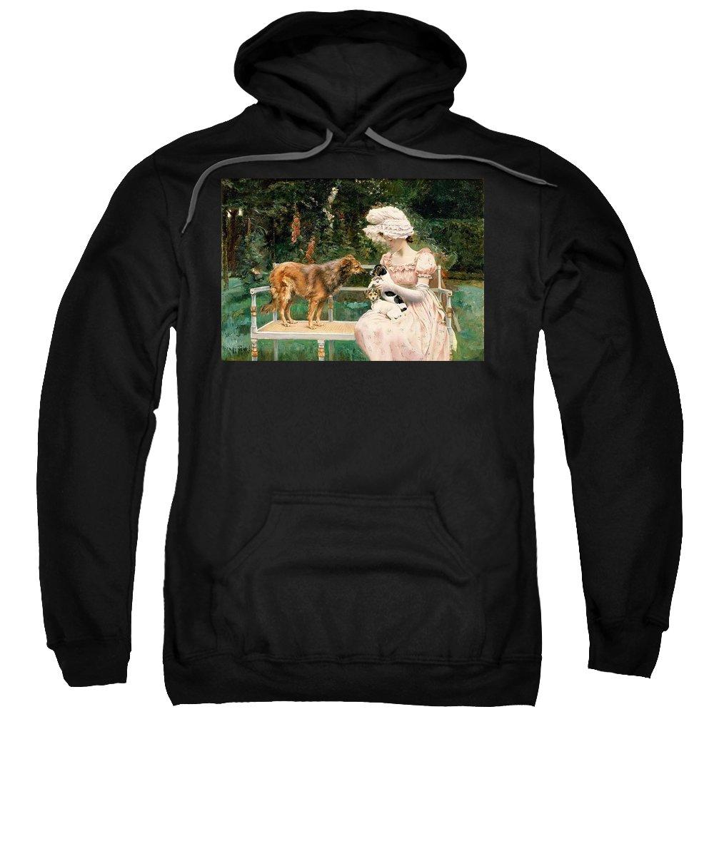 Terrier Sweatshirt featuring the digital art Charles Henry Tenre by Eloisa Mannion
