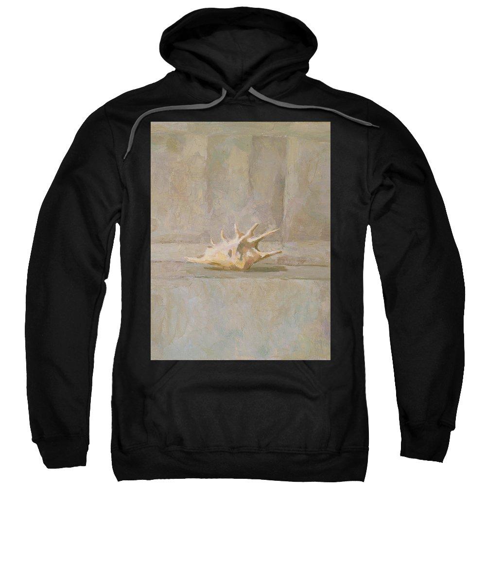 Shell Sweatshirt featuring the painting Still Life by Robert Nizamov