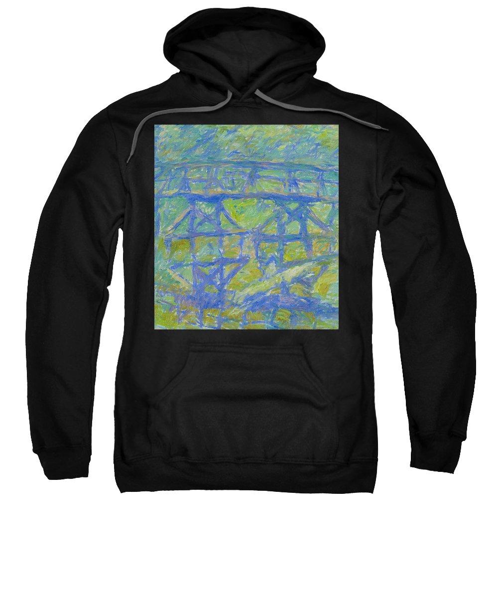 Bay Sweatshirt featuring the painting Bridge by Robert Nizamov