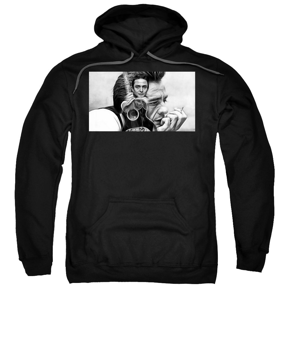 Johnny Cash Sweatshirt featuring the mixed media Johnny Cash Collection by Marvin Blaine