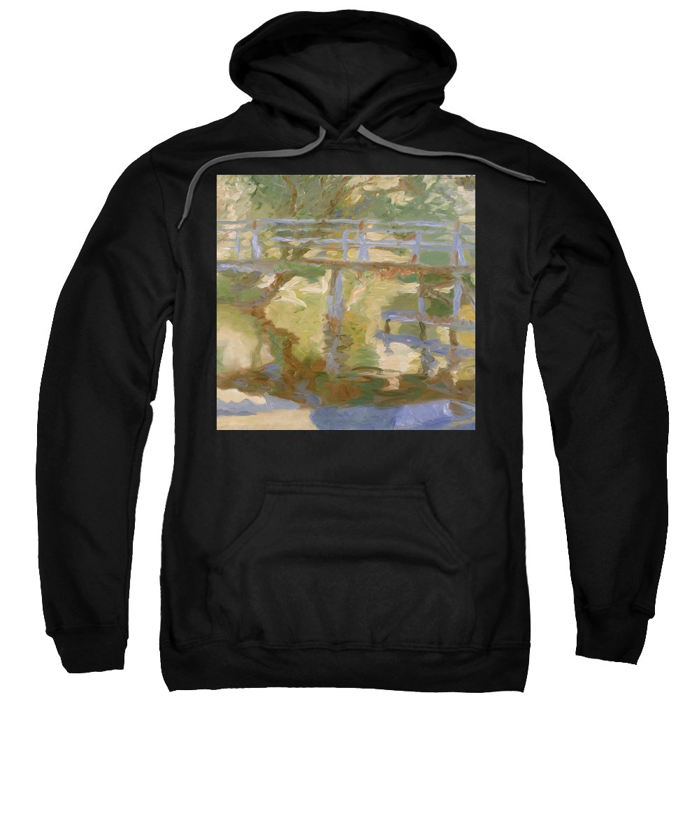 River Sweatshirt featuring the painting Bridge by Robert Nizamov