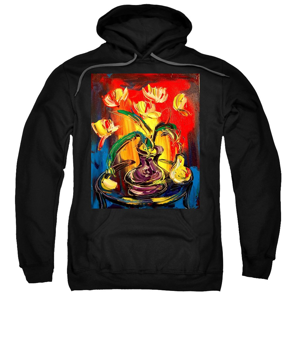 Kazav Framed Prints Sweatshirt featuring the painting Flowers by Mark Kazav