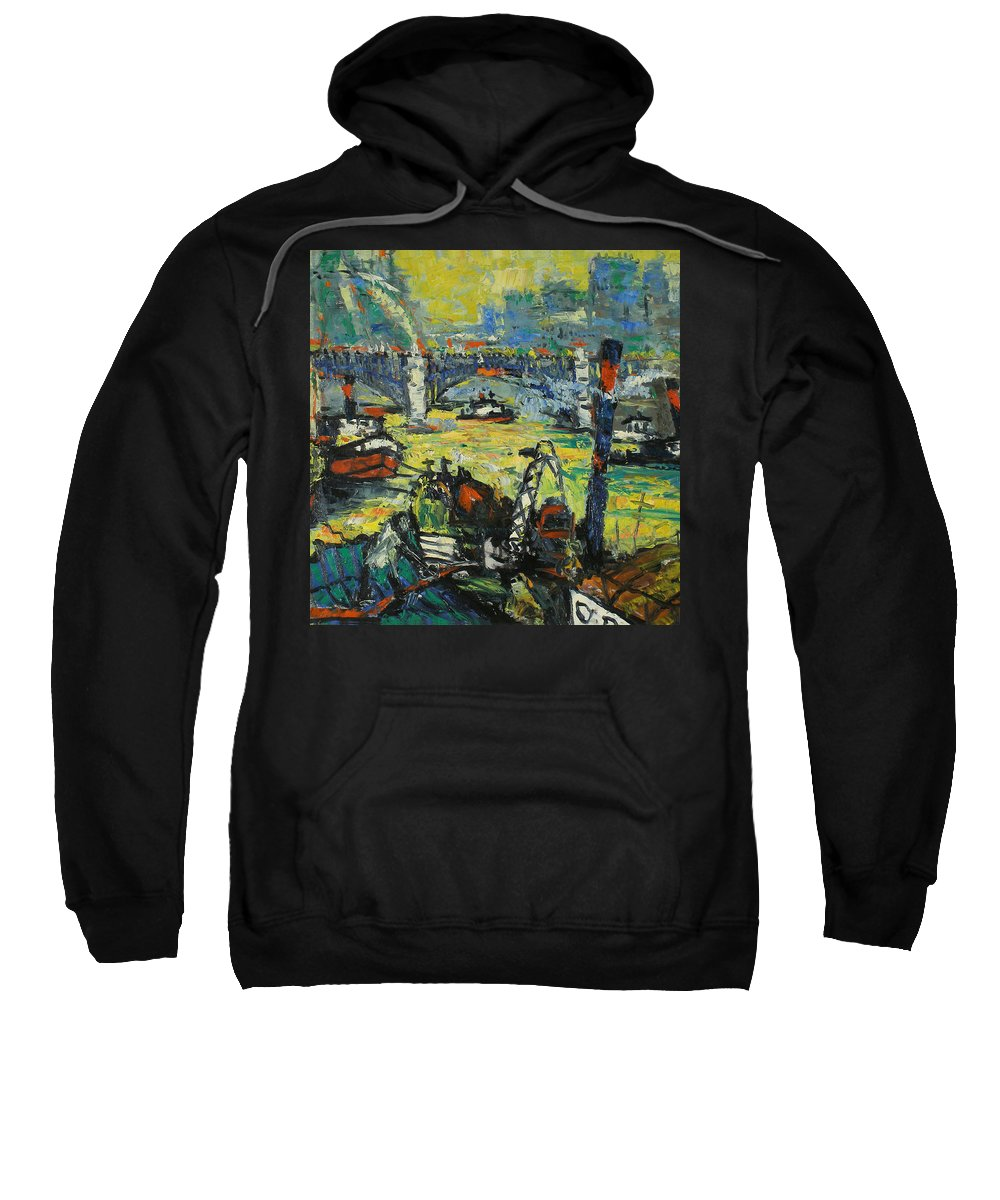 Bay Sweatshirt featuring the painting City by Robert Nizamov