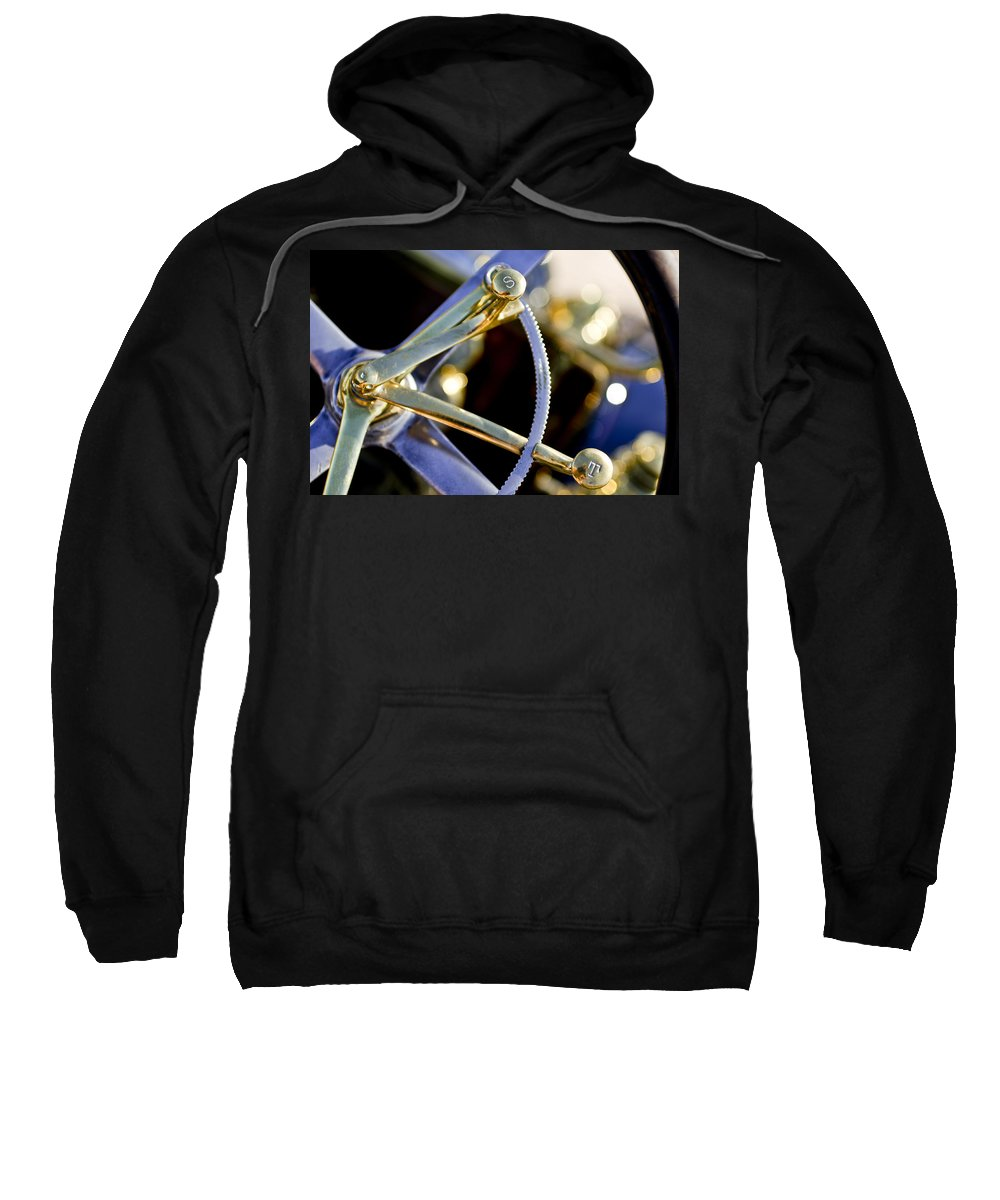 1910 Pope Hartford T Sweatshirt featuring the photograph 1910 Pope Hartford T Steering Wheel 2 by Jill Reger
