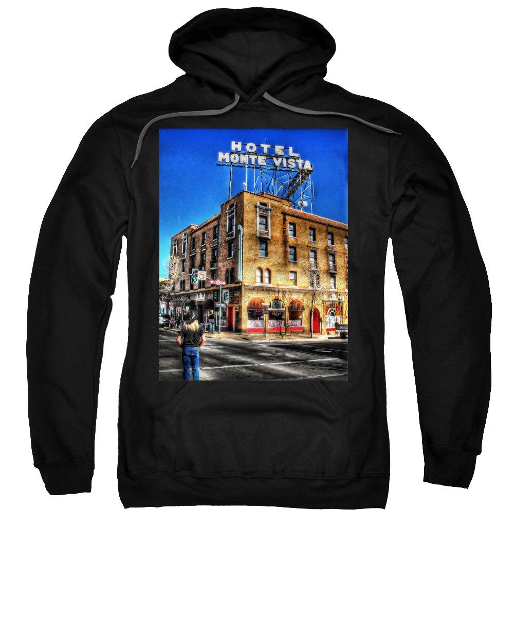 Hotel Monte Vista Sweatshirt featuring the photograph 1927 Hotel Monte Vista - Flagstaff by Saija Lehtonen