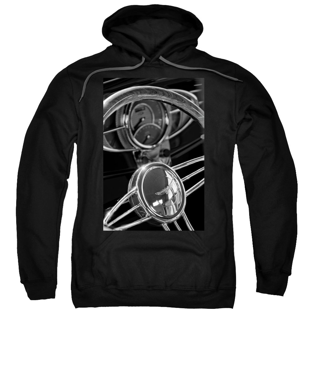 1932 Ford Sweatshirt featuring the photograph 1932 Ford Hot Rod Steering Wheel 4 by Jill Reger