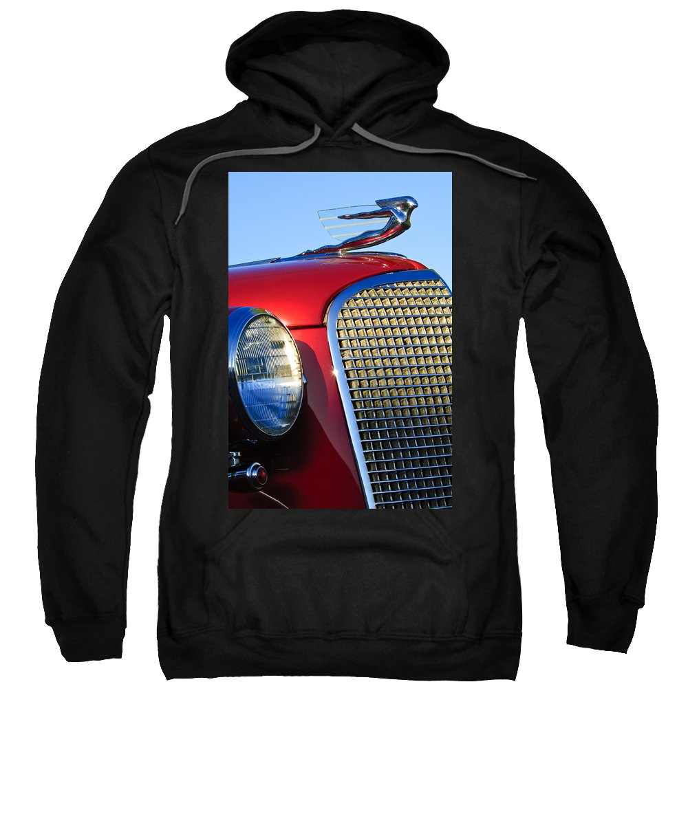 1937 Cadillac V8 Sweatshirt featuring the photograph 1937 Cadillac V8 Hood Ornament 2 by Jill Reger