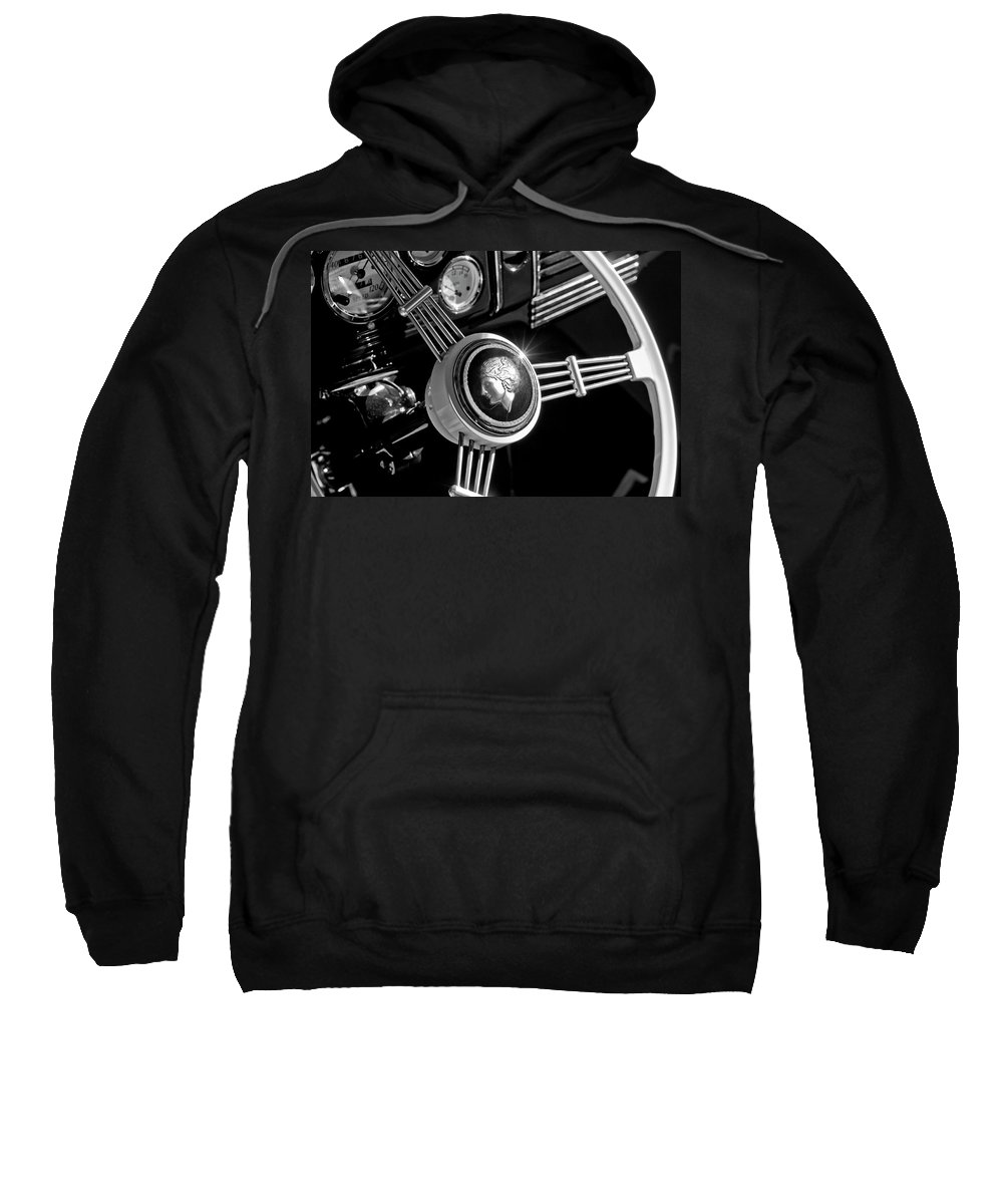 1939 Ford Standard Woody Sweatshirt featuring the photograph 1939 Ford Standard Woody Steering Wheel 2 by Jill Reger