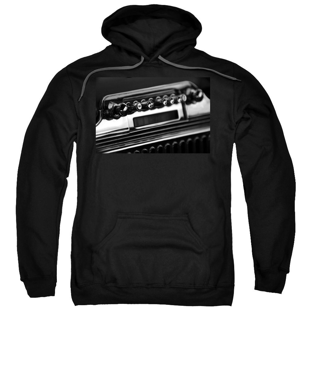 Transportation Sweatshirt featuring the photograph 1947 Cadillac Radio Black And White by Jill Reger