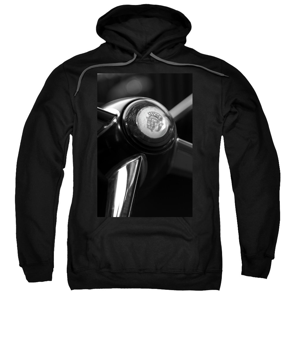 1947 Cadillac Sweatshirt featuring the photograph 1947 Cadillac Steering Wheel by Jill Reger