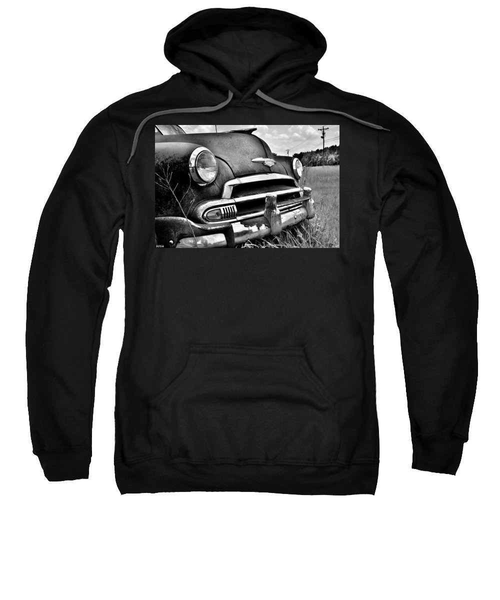 1951 Chevrolet Power Glide Black And White 3 Sweatshirt featuring the photograph 1951 Chevrolet Power Glide Black And White 3 by Lisa Wooten