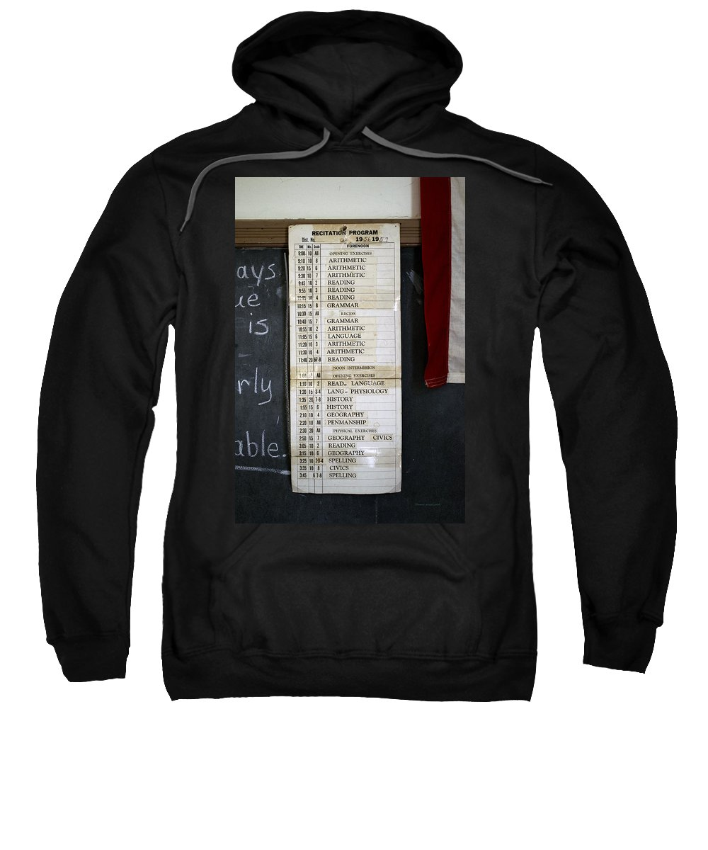 One Room School House Sweatshirt featuring the mixed media 1956 One Room School House Recitation Program by Thomas Woolworth