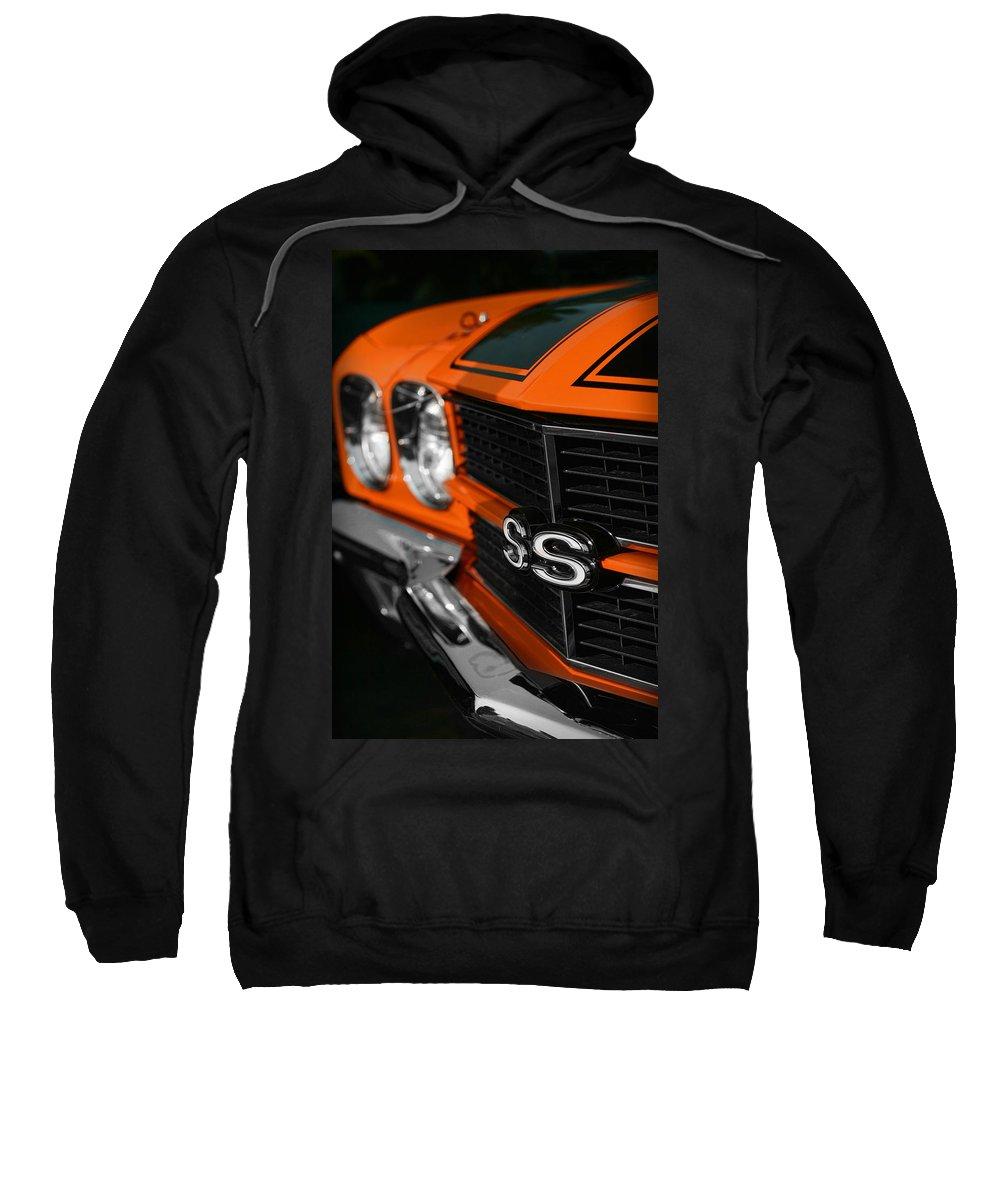 Orange Sweatshirt featuring the photograph 1970 Chevelle Ss396 Ss 396 Orange by Gordon Dean II