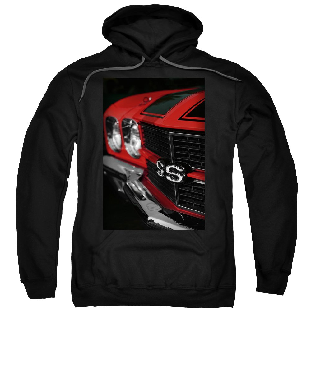 1970 Sweatshirt featuring the photograph 1970 Chevelle Ss396 Ss 396 Red by Gordon Dean II