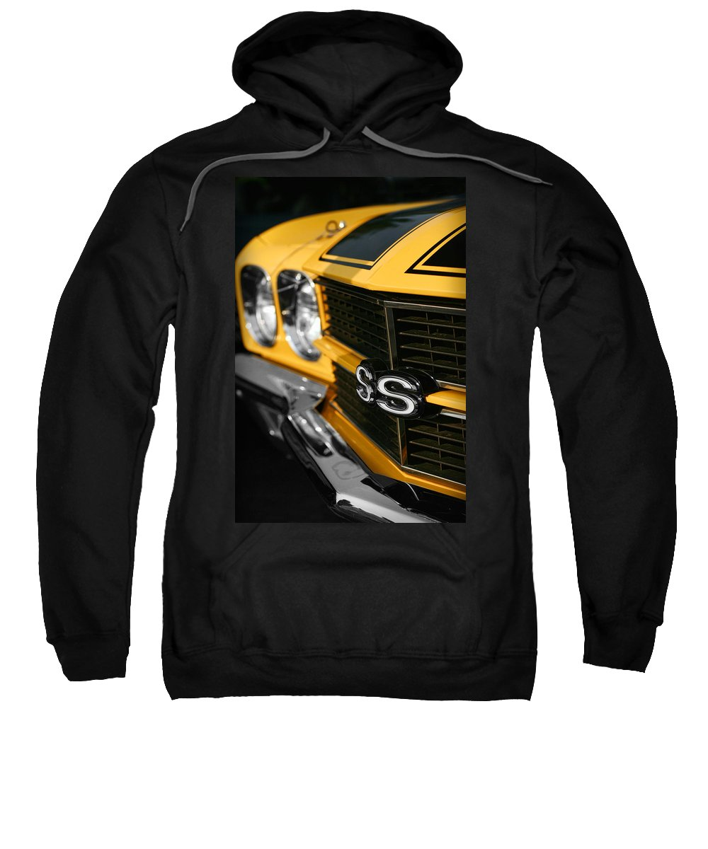 1970 Sweatshirt featuring the digital art 1970 Chevelle Ss396 Ss 396 Yellow by Gordon Dean II