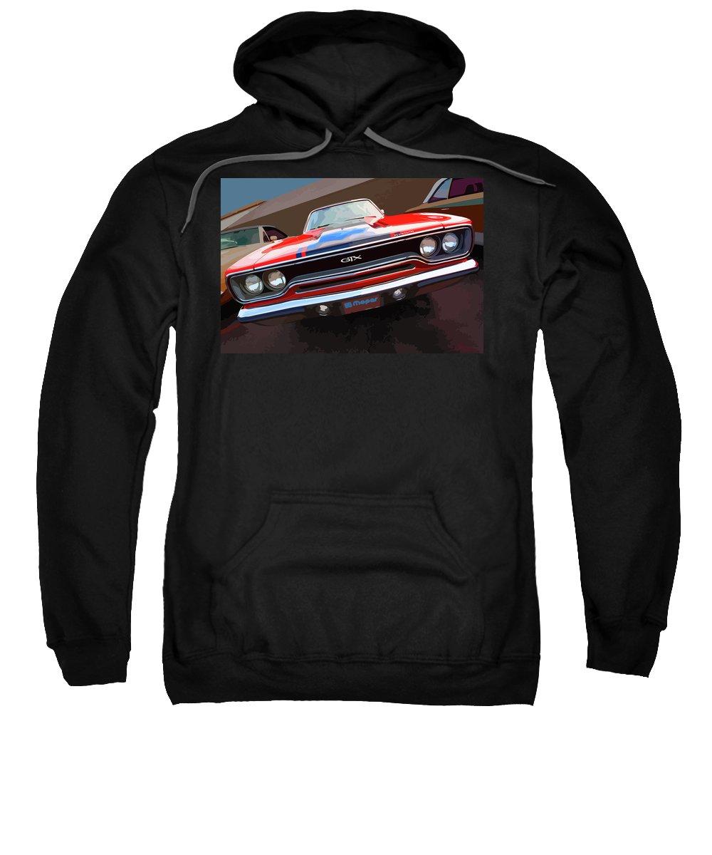 1970 Sweatshirt featuring the digital art 1970 Plymouth Gtx Vectorized by Gordon Dean II