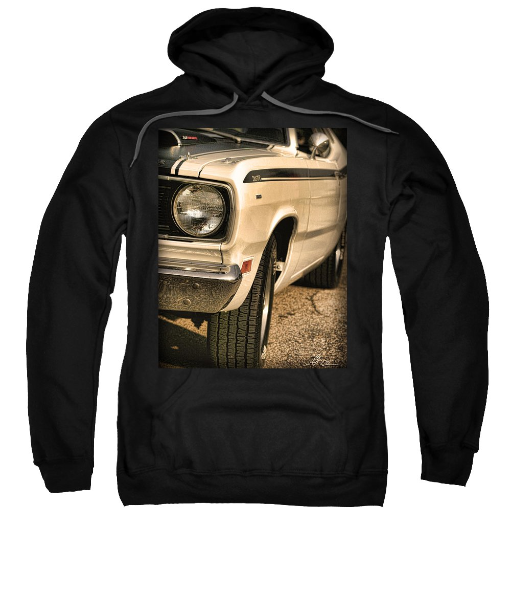 1970 Sweatshirt featuring the photograph 1971 Plymouth Duster 340 Four Barrel by Gordon Dean II