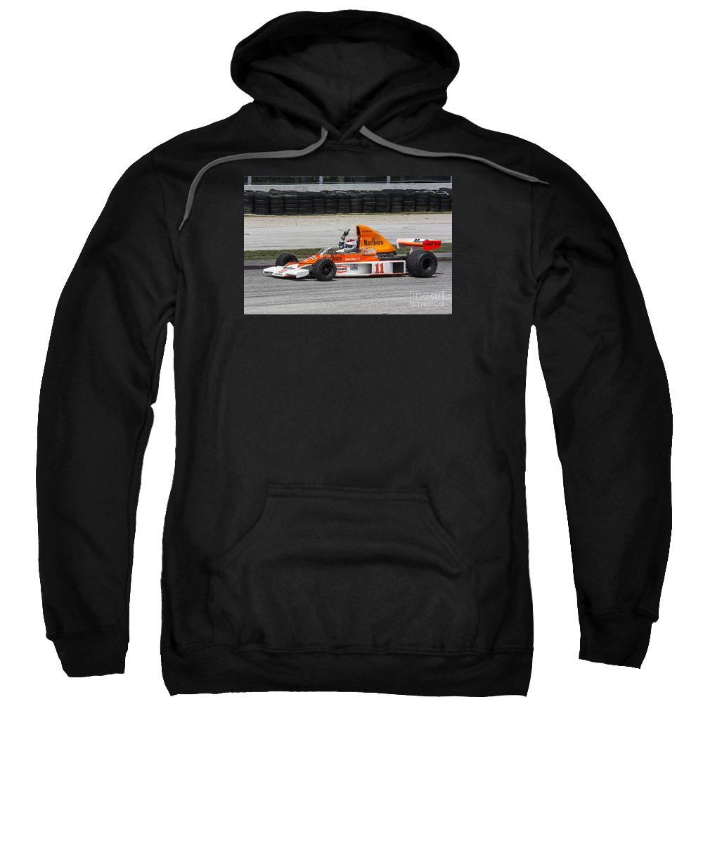 Automobile Sweatshirt featuring the photograph 1976 Mclaren M23 F1 At Road America by Tad Gage
