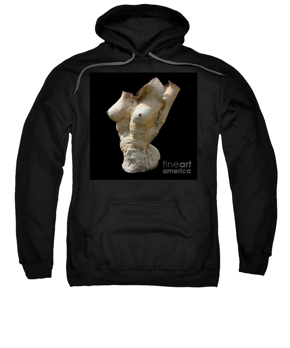 Luster Ceramic Sweatshirt featuring the sculpture Athena Heart Song by Valerie Freeman