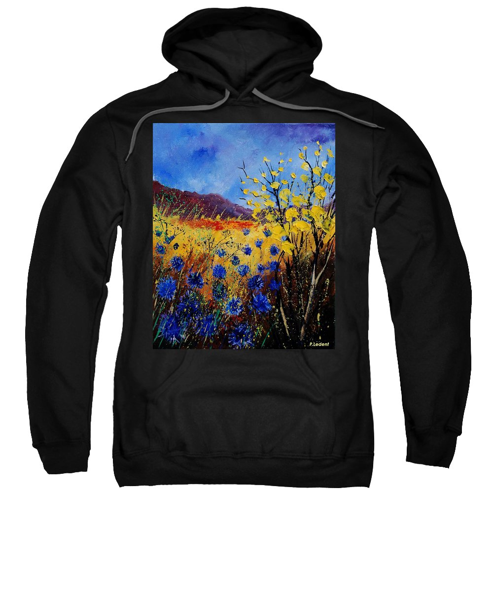 Poppies Flowers Floral Sweatshirt featuring the painting Blue Cornflowers by Pol Ledent