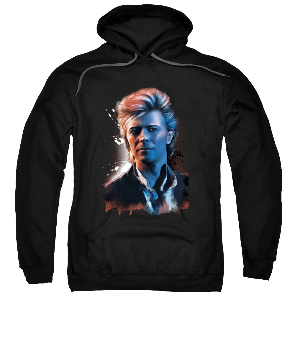 David Bowie Sweatshirt featuring the painting David Bowie by Melanie D