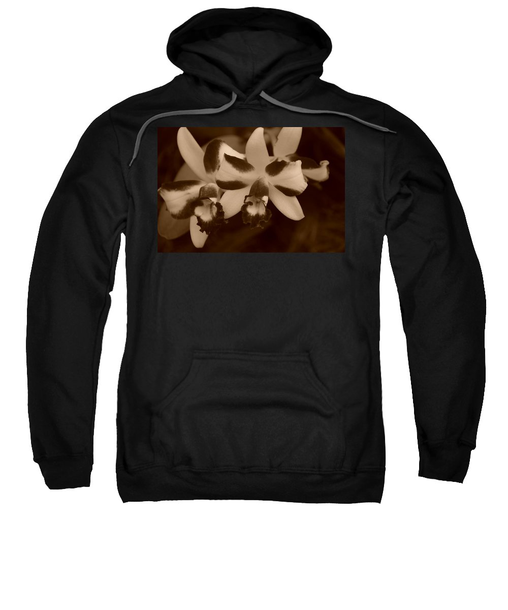 Macro Sweatshirt featuring the photograph Double Orchid by Rob Hans