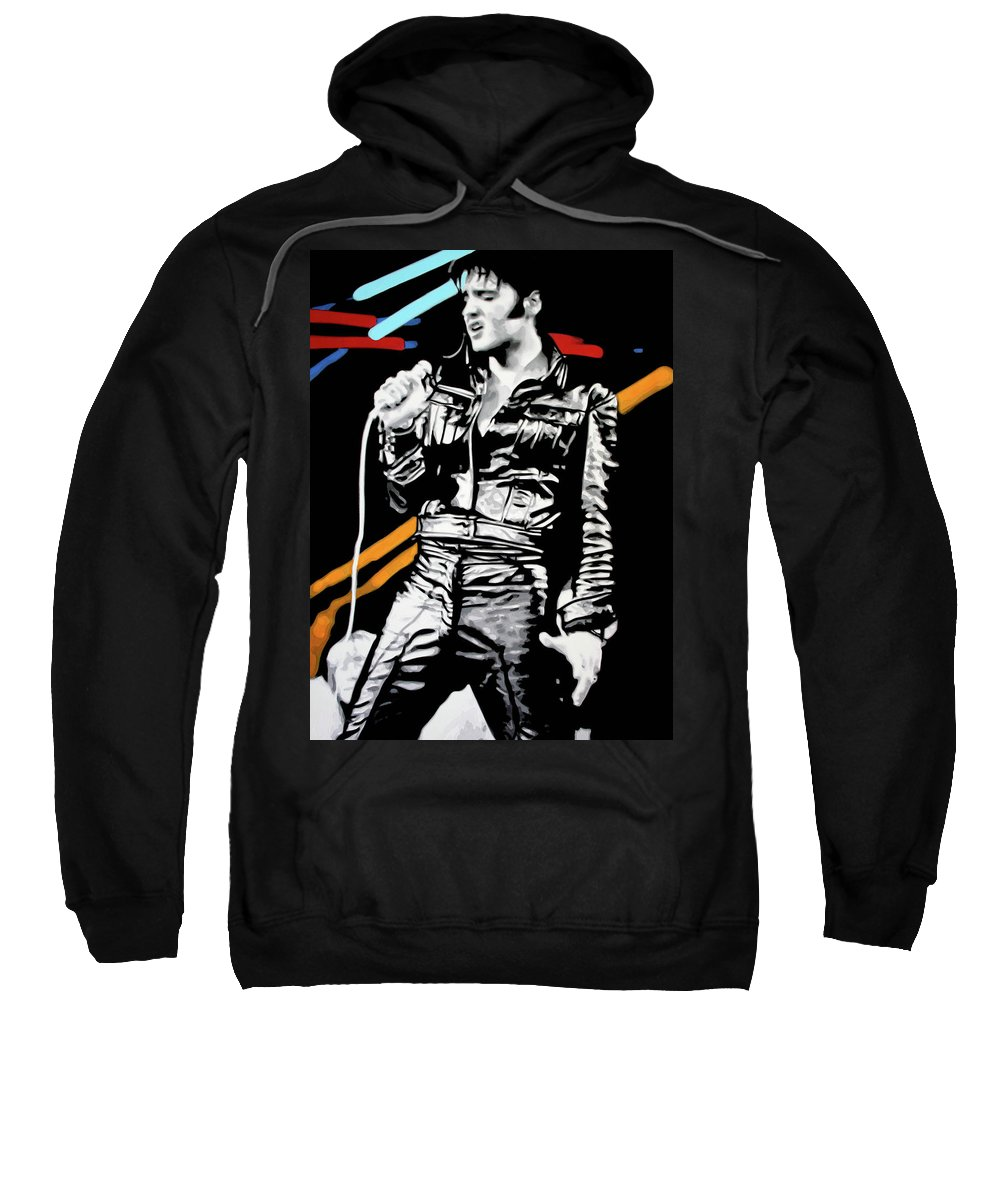 Elvis Presley Sweatshirt featuring the painting Elvis by Luis Ludzska