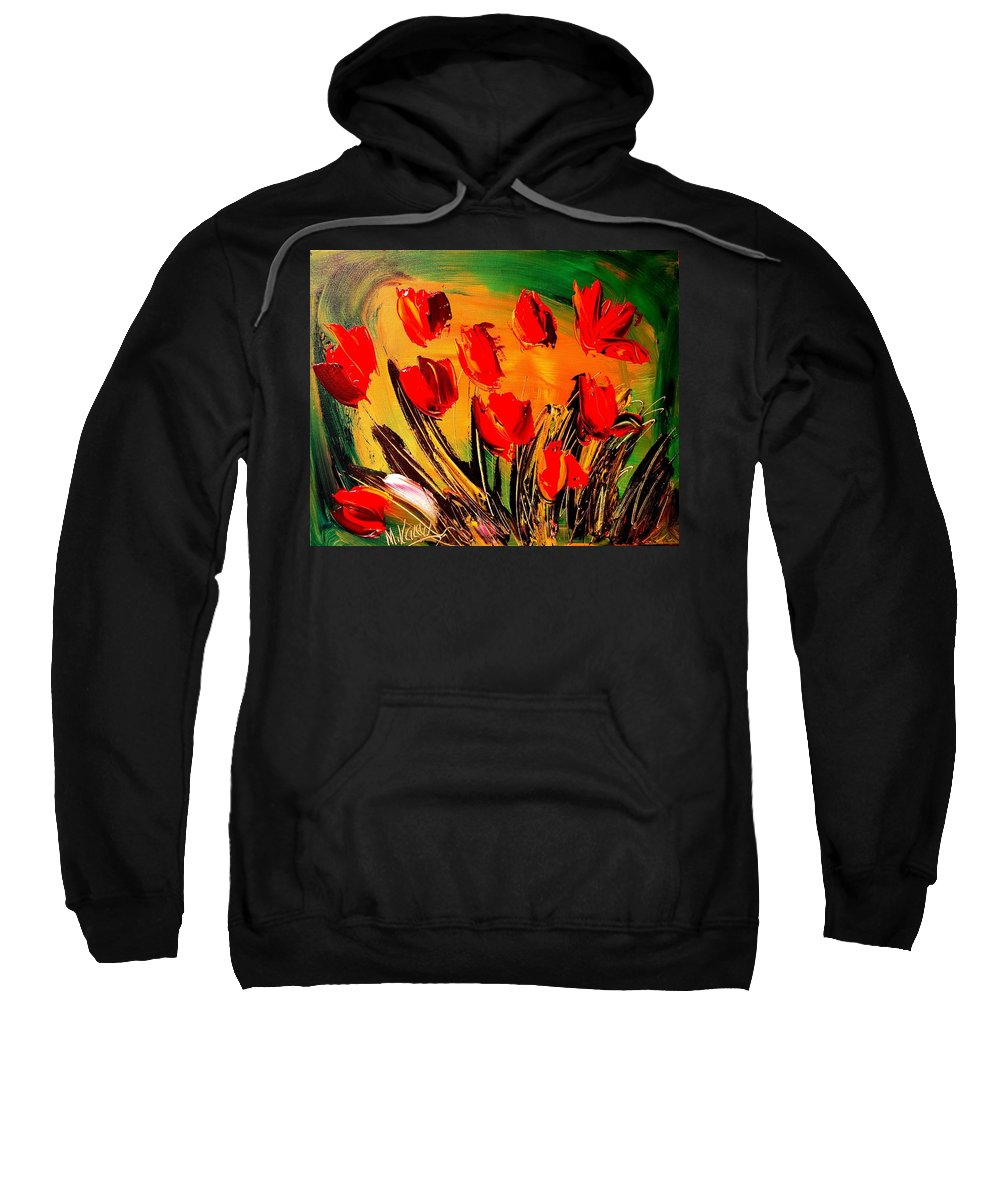 Flowers Sweatshirt featuring the painting Flowers Modern Abstract Fine Art Canvas by Mark Kazav