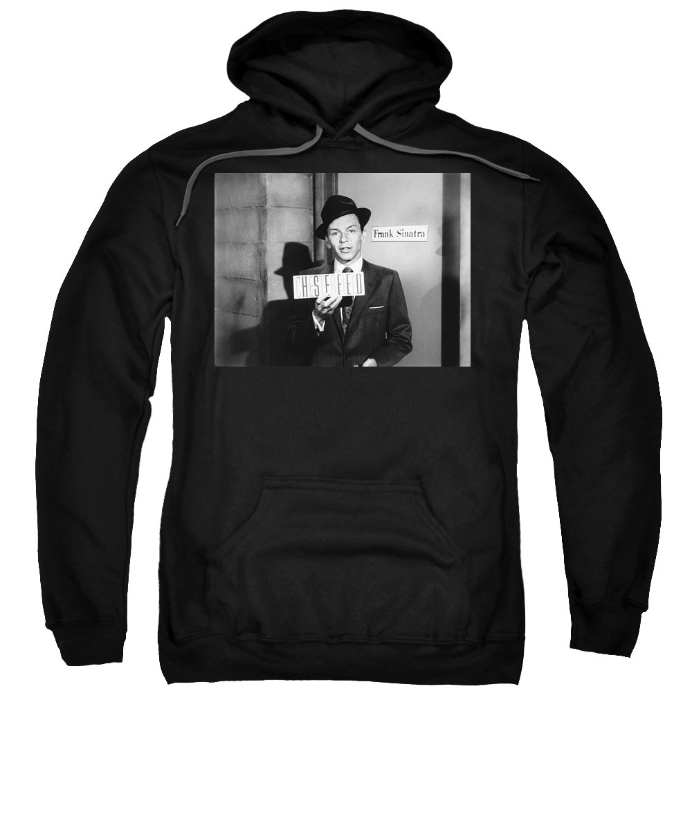 1 Person Sweatshirt featuring the photograph Frank Sinatra by Underwood Archives