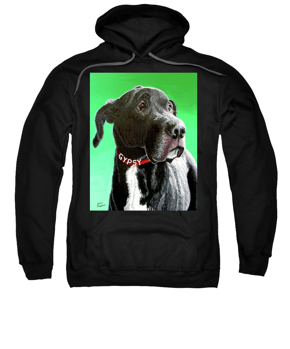 Dog Portrait Sweatshirt featuring the painting Gypsy by Stan Hamilton