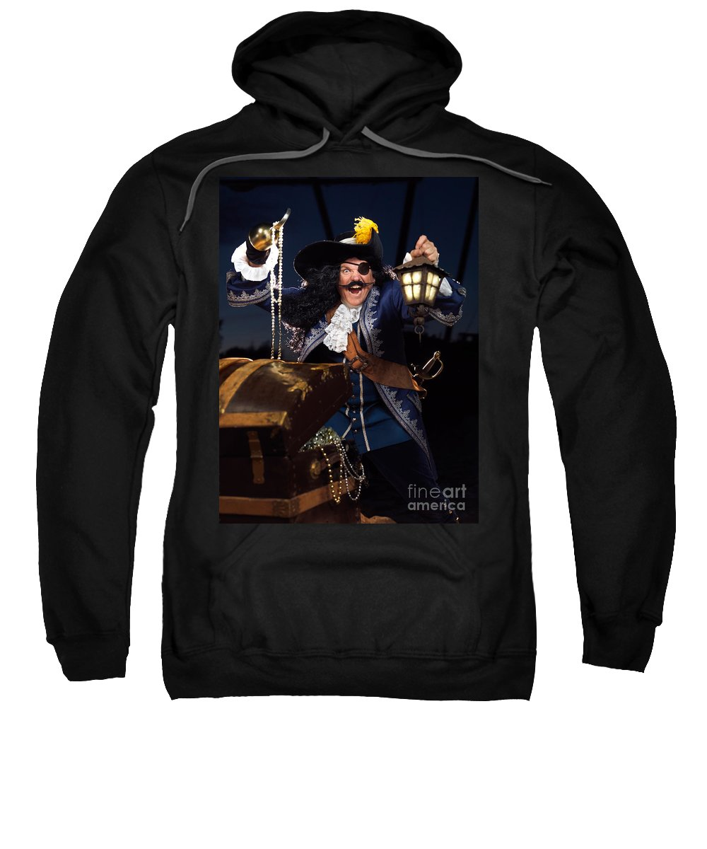 Pirate Sweatshirt featuring the photograph Pirate With A Treasure Chest by Oleksiy Maksymenko