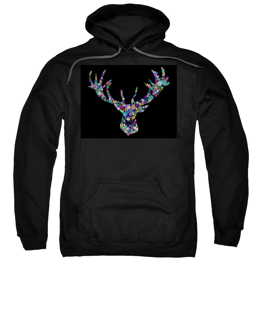 Animal Sweatshirt featuring the digital art Reindeer Design By Snowflakes by Setsiri Silapasuwanchai