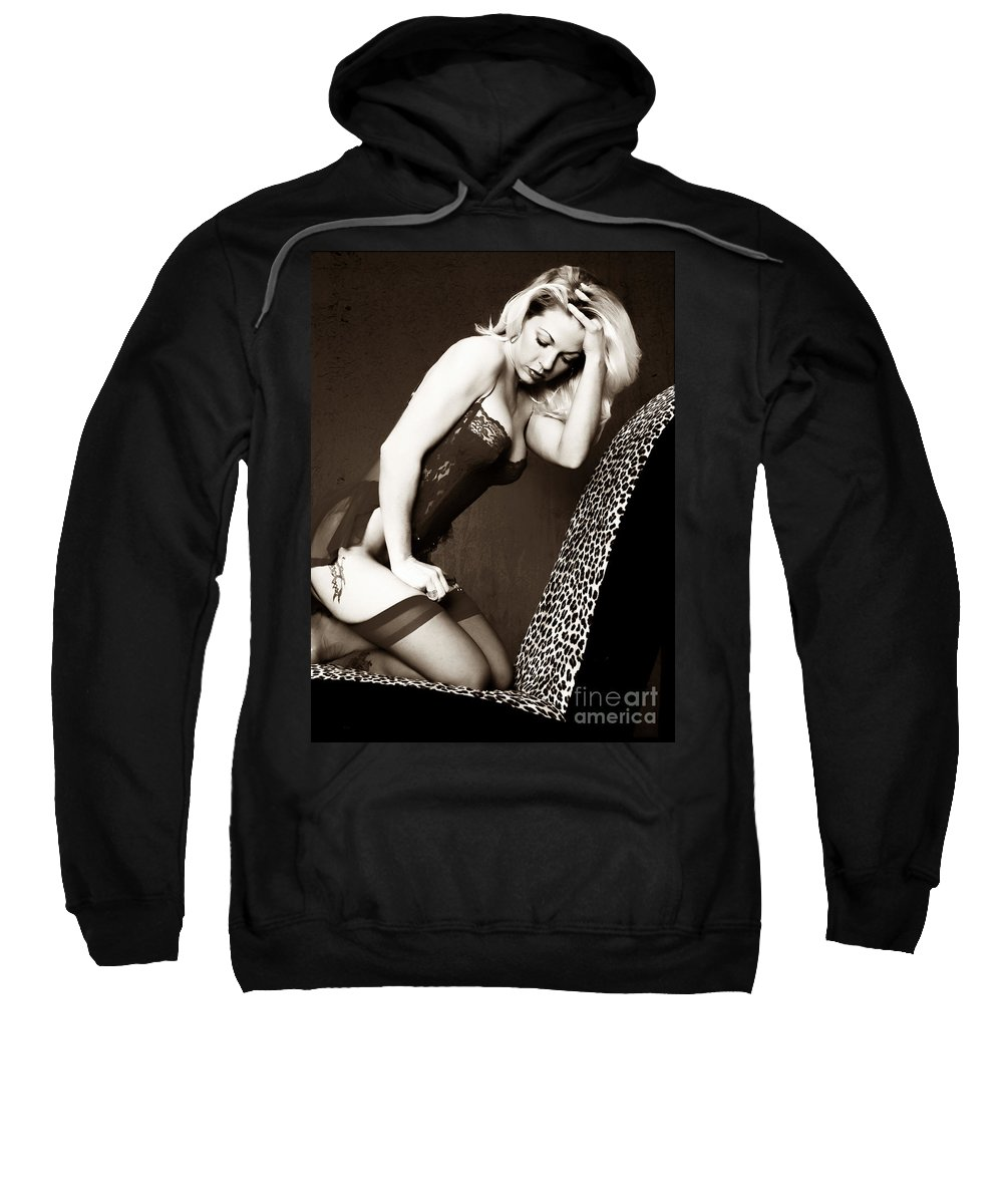 Clay Sweatshirt featuring the pyrography Retro Pinup by Clayton Bruster