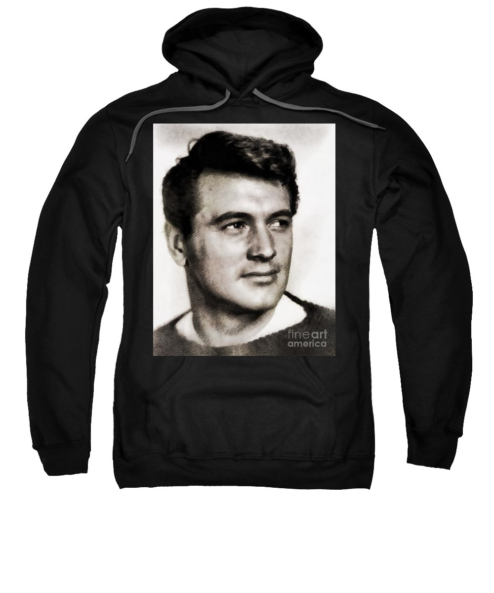 Hollywood Sweatshirt featuring the painting Rock Hudson, Vintage Hollywood Legend by John Springfield