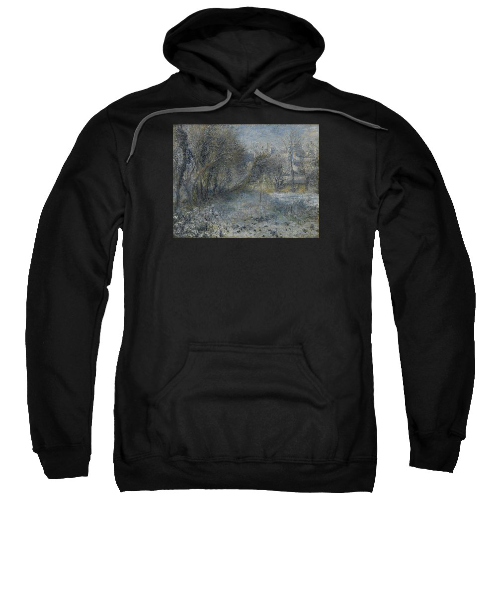 Auguste Renoir Sweatshirt featuring the painting Snow Covered Landscape by Auguste Renoir