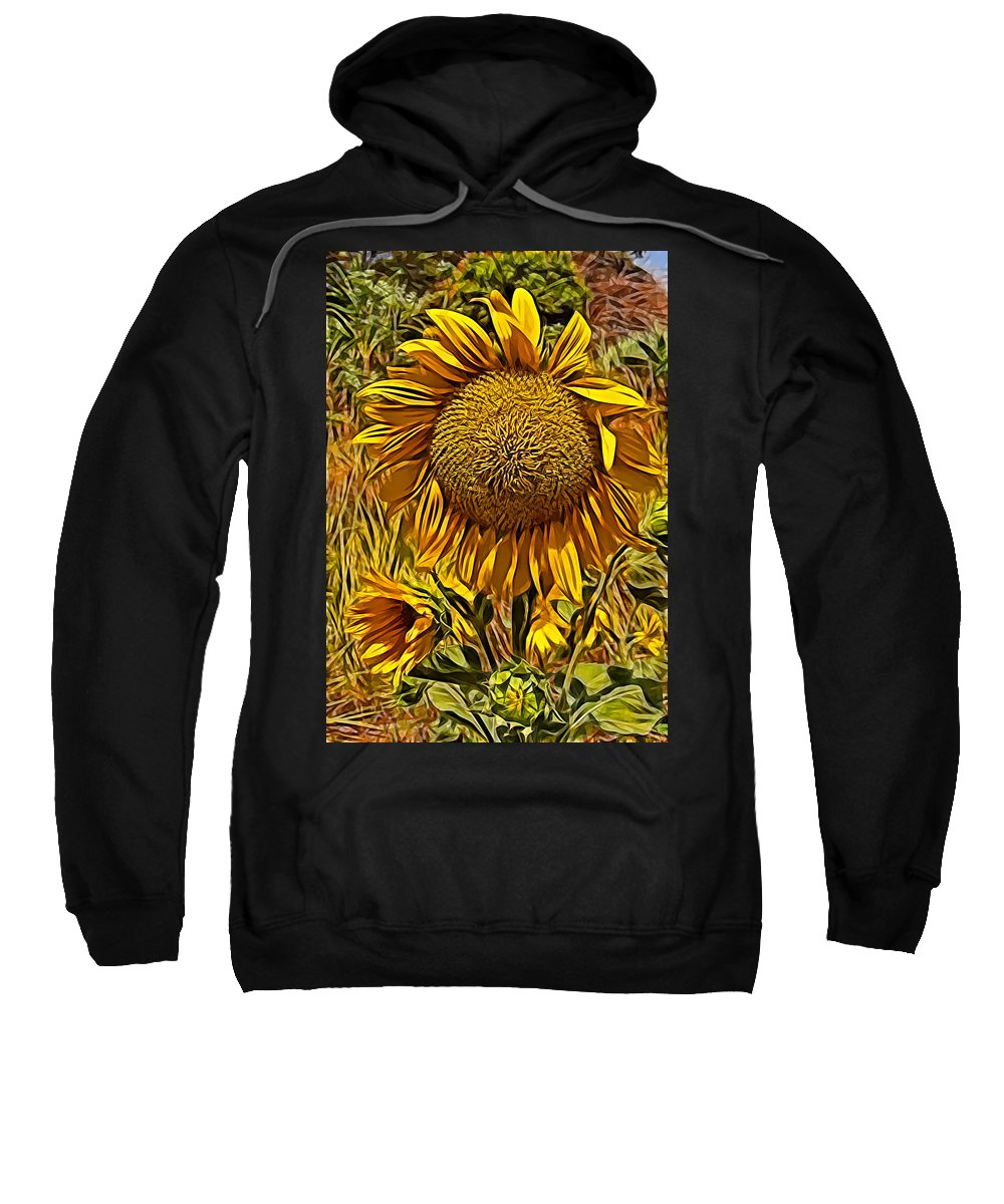 Sunflower Yellow Flower Blue Sky Grass Green Sunflower Yellow Flower Blue Sky Grass Green Framed Prints Sweatshirt featuring the photograph Sunflower by Galeria Trompiz