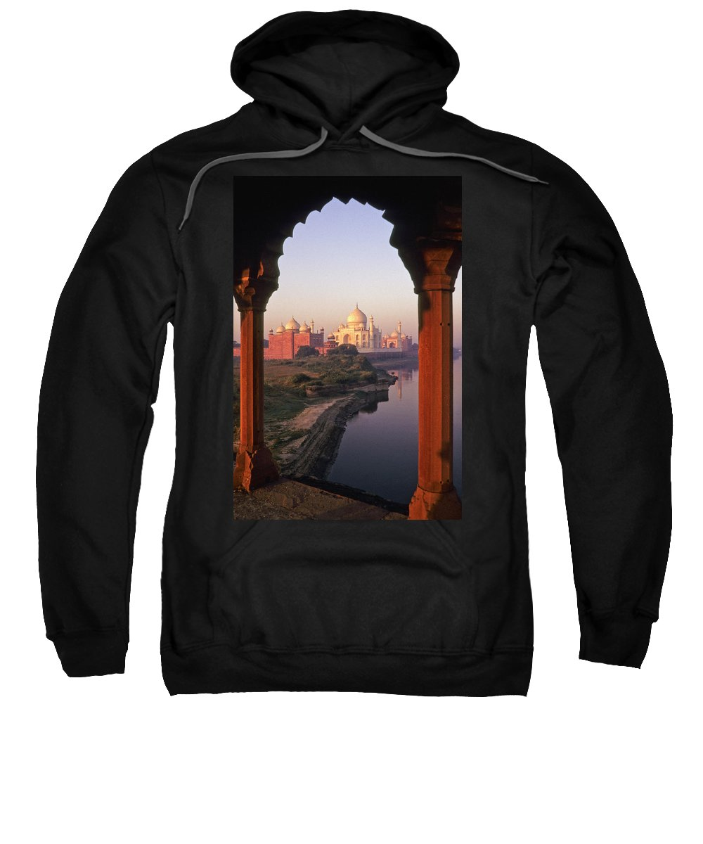 India Sweatshirt featuring the photograph Taj Mahal At Sunrise by Michele Burgess
