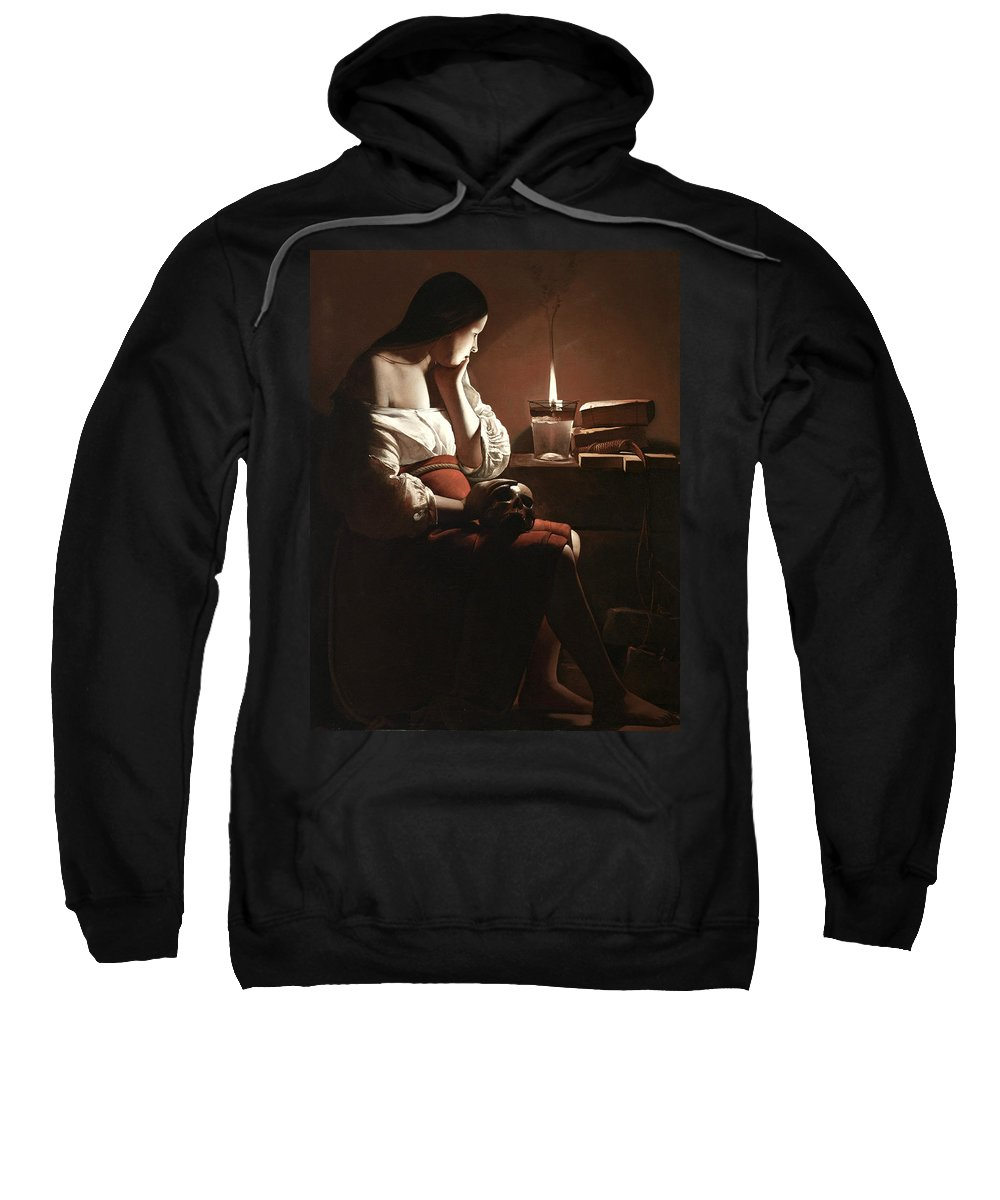 The Magdalen With The Smoking Flame Sweatshirt featuring the painting The Magdalen With The Smoking Flame by Georges de la Tour