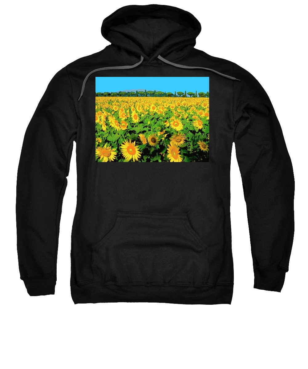 Sunflower Farm Sweatshirt featuring the mixed media Tuscany Sunflowers by Dominic Piperata