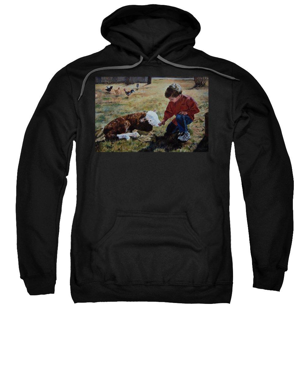 Calf Sweatshirt featuring the painting 20 Minute Orphan by Lori Brackett
