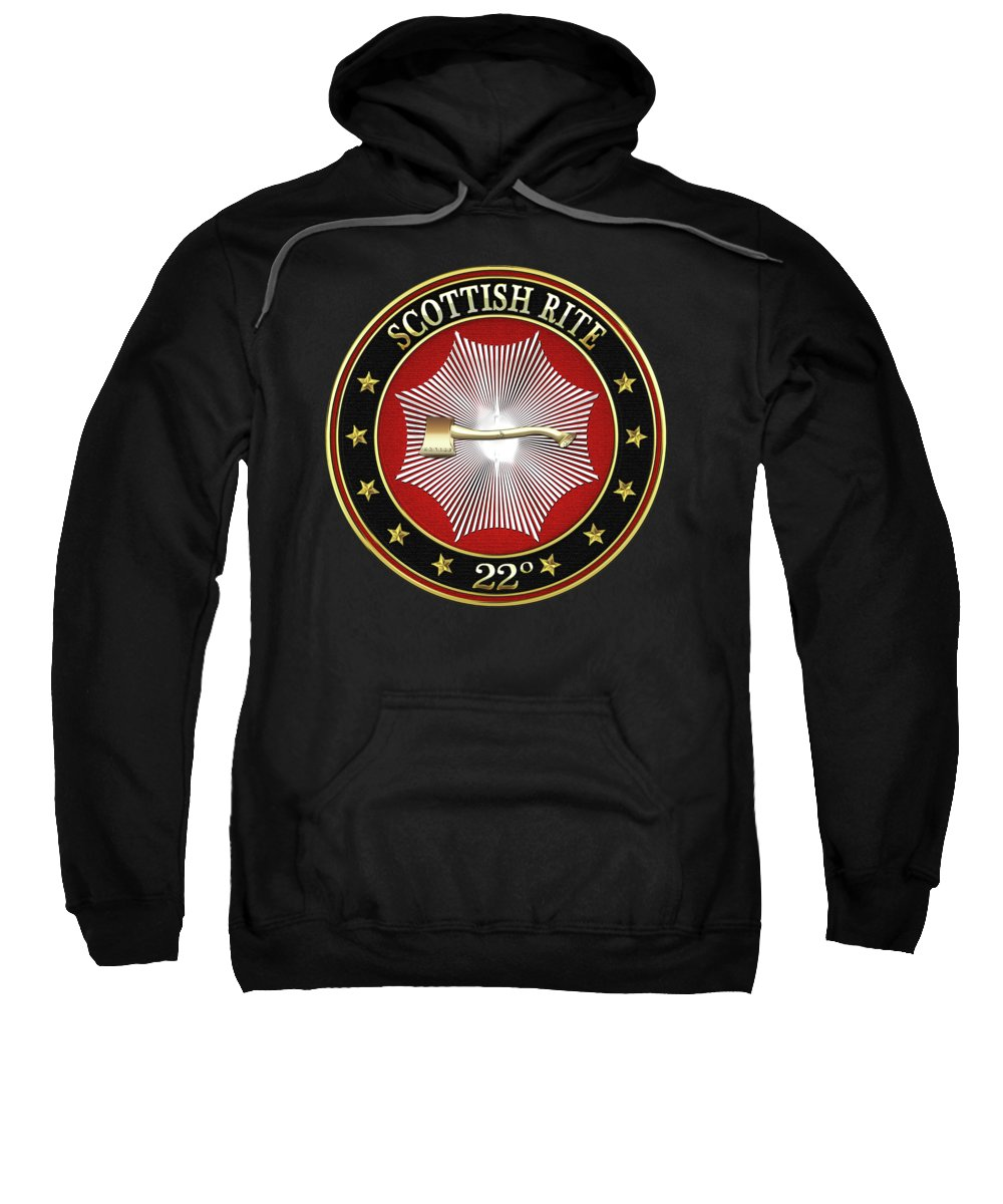 'scottish Rite' Collection By Serge Averbukh Sweatshirt featuring the digital art 22nd Degree - Knight Of The Royal Axe Jewel On Black Leather by Serge Averbukh