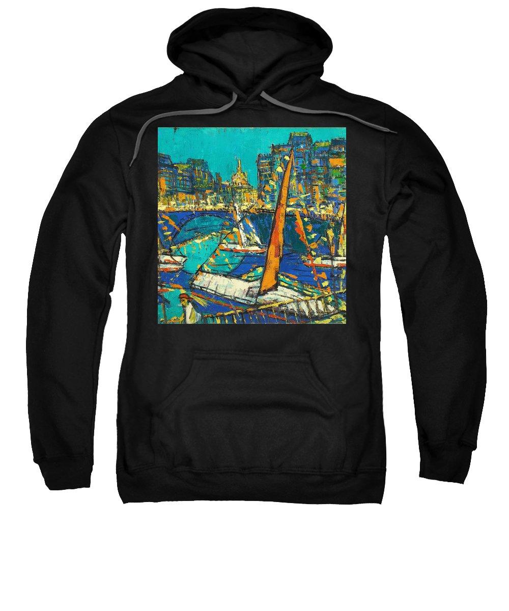 Bay Sweatshirt featuring the painting City by Robert Nizamov