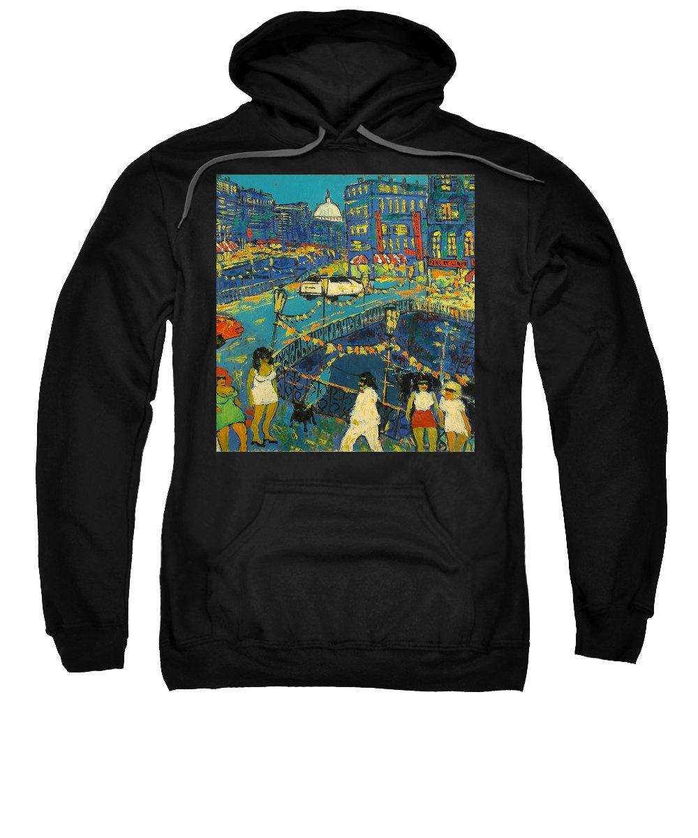 People Sweatshirt featuring the painting City by Robert Nizamov