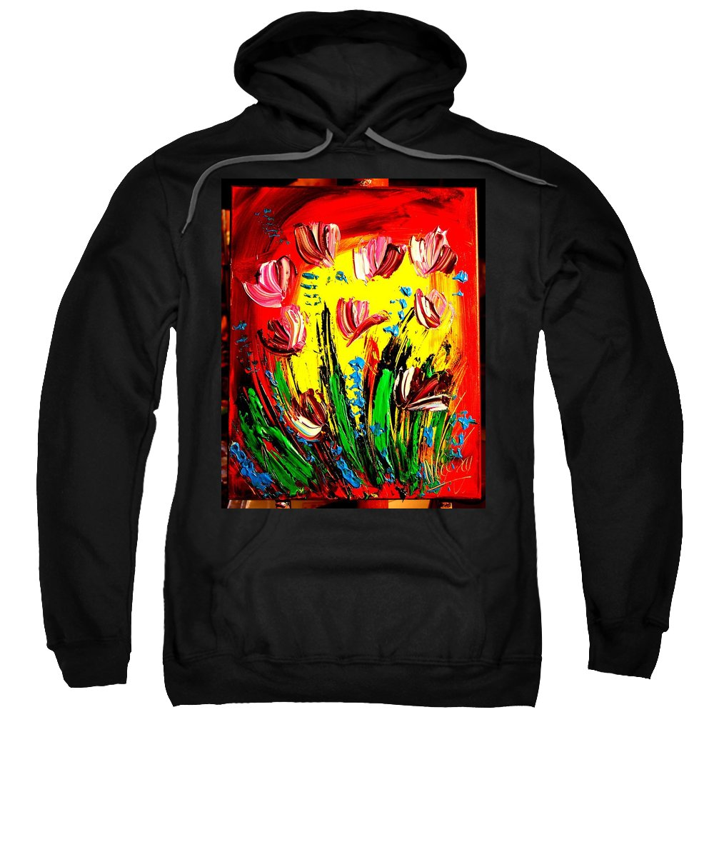 Surreal Framed Prints Sweatshirt featuring the painting Tulips by Mark Kazav
