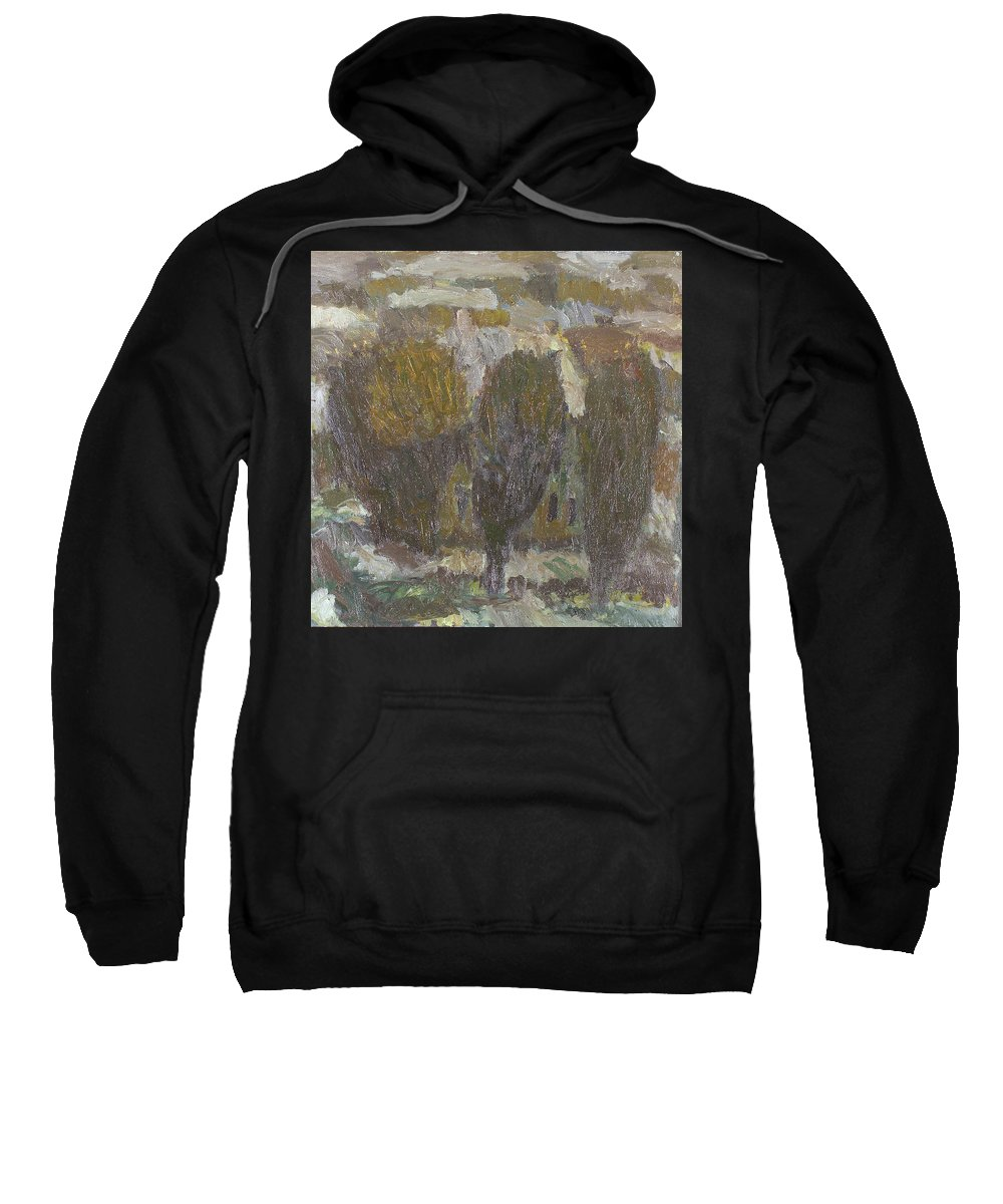 Snow Sweatshirt featuring the painting Village by Robert Nizamov